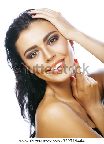 perfect beauty real brunette woman isolated on white background smiling close up spa - stock photo
