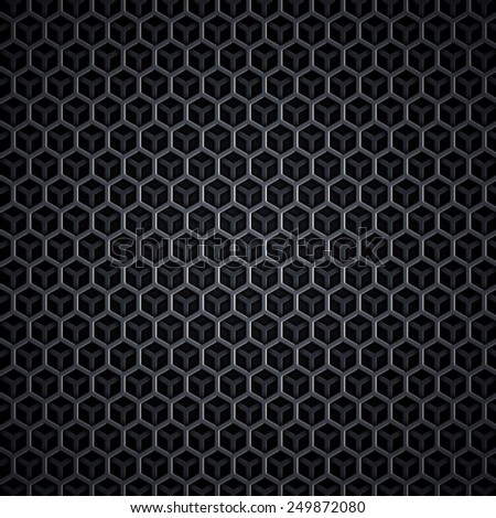Perfect black texture with overlapping hexagon objects. High quality and resolution - stock photo