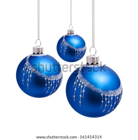 Perfect blue christmas balls isolated on white background - stock photo