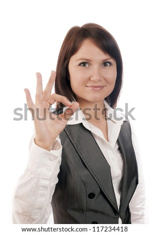 Perfect business woman showing OK hand sign smiling happy isolated on white - stock photo