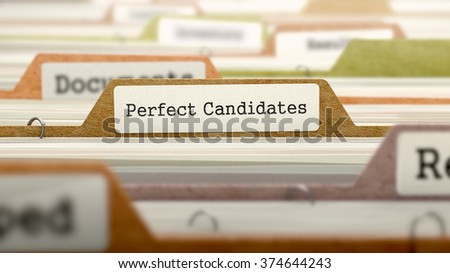 Perfect Candidates Concept. Colored Document Folders Sorted for Catalog. Closeup View. Selective Focus.3D Render.