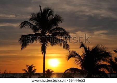 perfect caribbean sunset - stock photo