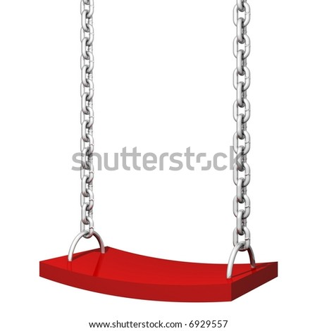 Perfect child's swing isolated on white - stock photo