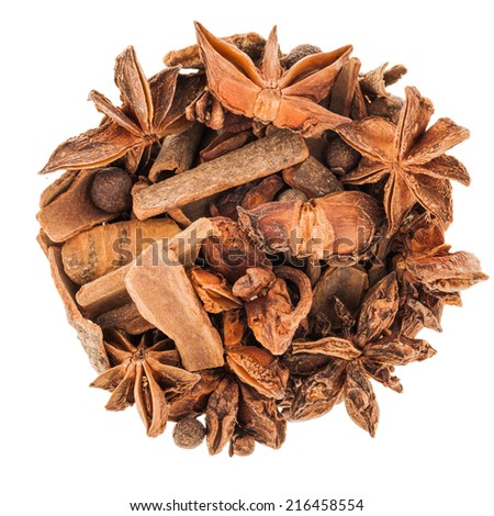 Perfect Circle of Hot Wine Spices Isolated on White Background - stock photo