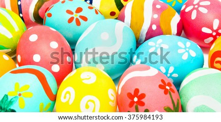 Perfect colorful handmade easter eggs close up