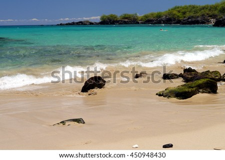 perfect day at Beach 69, on Big Island, Hawaii - stock photo