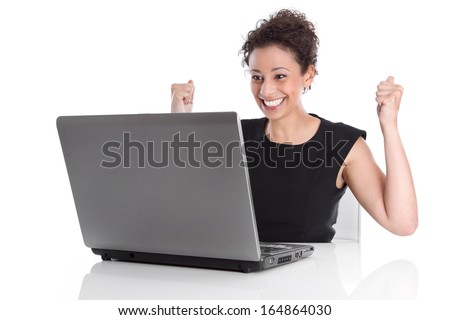 Perfect day - happy young business woman - sitting in the office - Stock Photo - stock photo