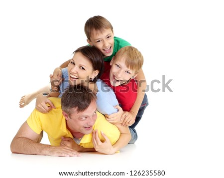 Perfect family in bright T-shirts on a white background