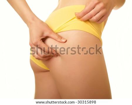 Perfect female body isolated on white - stock photo