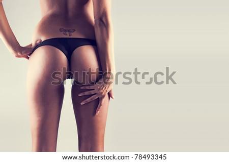 Perfect female body (isolated on white background) - stock photo
