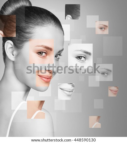 Perfect female face made of different faces - stock photo