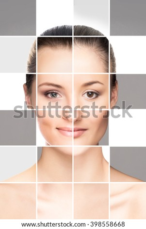 Perfect female face made of different faces. Plastic surgery concept. - stock photo
