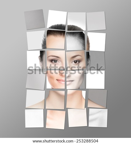 Perfect female face made of different faces. Plastic surgery concept. Sticker collage. - stock photo