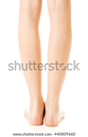 Perfect female legs, isolated on white.