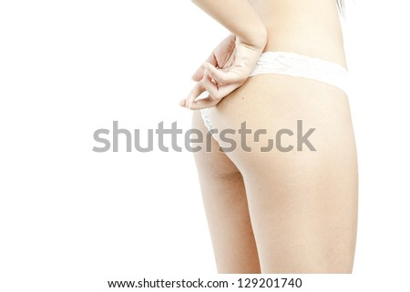 perfect feminine body with two fingers behind - stock photo
