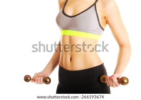 perfect flat female stomach isolated on white - stock photo