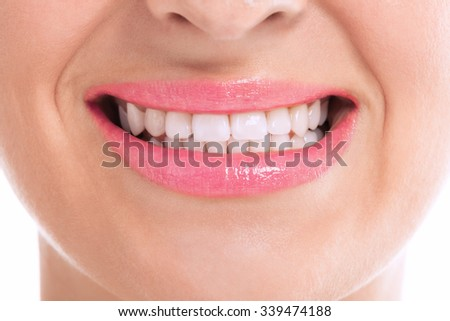Perfect flat lady with whitening teeth