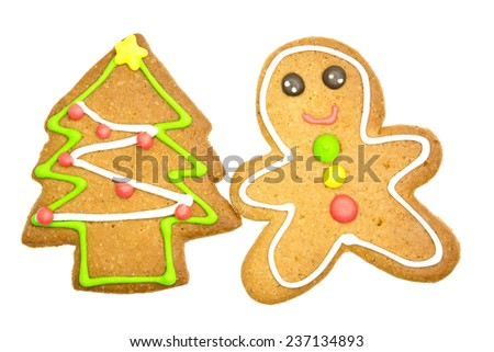 Perfect ginger bread Christmas cookie shaped as a Christmas tree