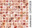 Perfect girl's lips. Collection of 100 beautiful woman's lips with colour makeup lipstick. Set of female smiles over white background - stock photo