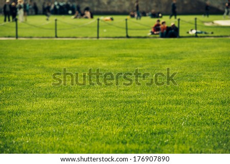 Perfect green lawn and people enjoying a great sunny day - stock photo