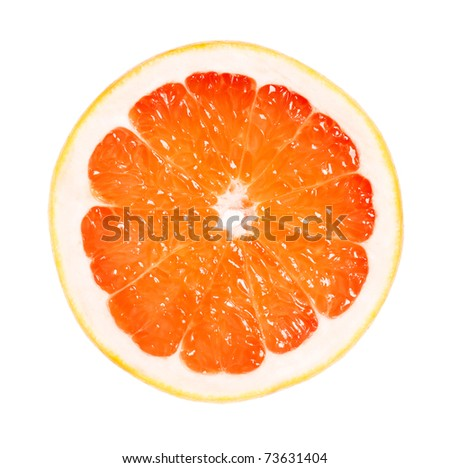 Perfect half of grapefruit isolated on white background - stock photo