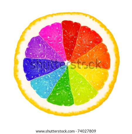 Perfect half of grapefruit, or orange, or lemon in different colors, isolated on white background - stock photo