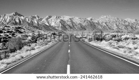 Perfect Highway Owens Valley Sierra Nevada Mountains California - stock photo