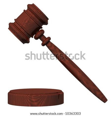 Perfect judge's gavel isolated on white