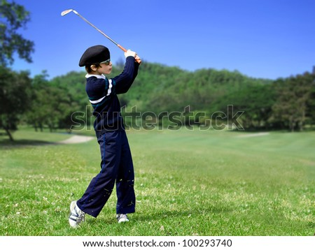 perfect junior golf swing - stock photo
