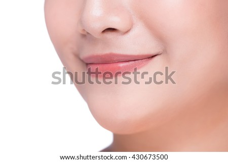 Perfect lips. Asian girl mouth close up. Beauty young woman Smile. Natural plump full Lip. Lips augmentation. Close up detail