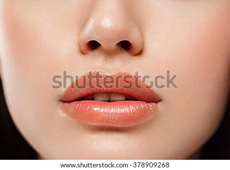 Perfect Lips. Sexy Girl Mouth close up. Beauty young woman Smile. Natural plump full Lip. Lips augmentation.Nose - stock photo