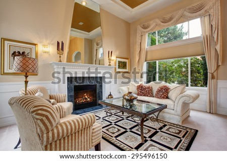 Perfect luxurious living room with elegant decor. - stock photo