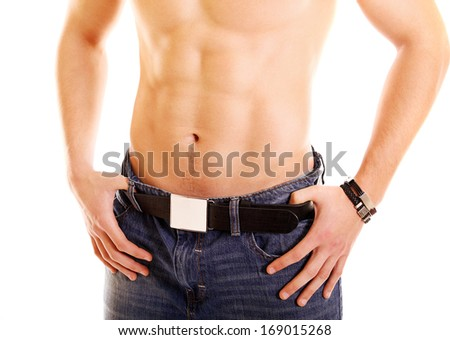 perfect male abdomen isolated on white background - stock photo