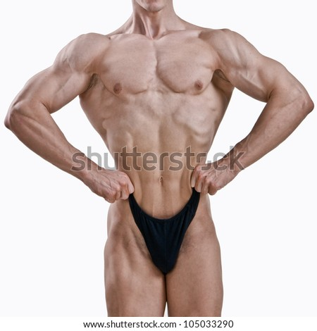 Perfect male body isolated on white background - stock photo