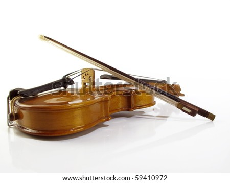 Perfect miniature violin on a white reflective background