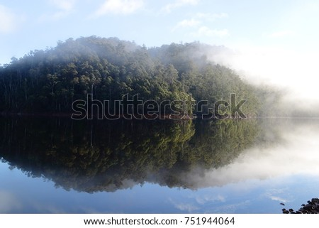 Perfect morning fog reflection at Lake Barrington