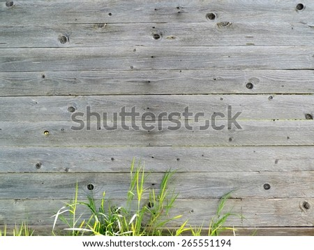 Perfect natural gray wood texture with grass for background - stock photo