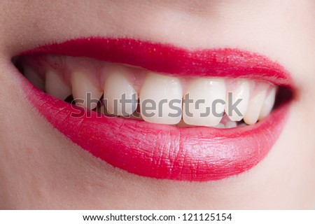 Perfect Natural Teeth and red lips
