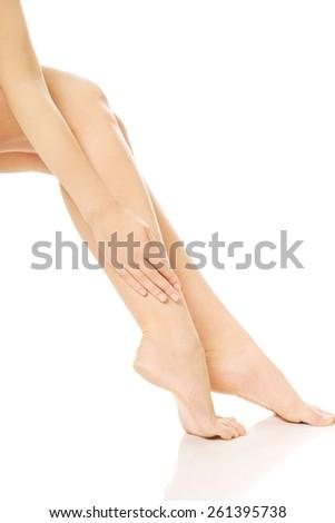 Perfect nude slim female legs - stock photo