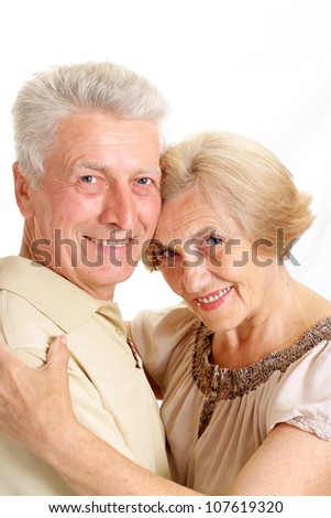 Perfect old couple on a white background