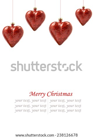 Perfect red christmas ball isolated on white background/ space for your text