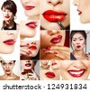 Perfect red female lips set. Beautiful asian, african and caucasian women with red lipstick. - stock photo