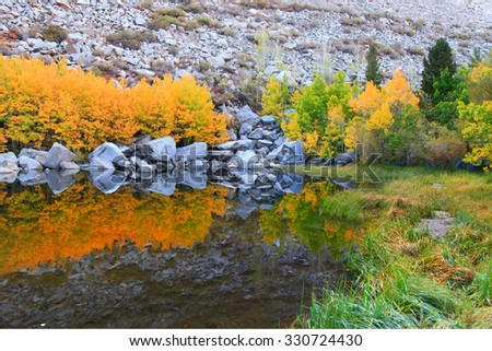 Perfect reflections in a small mountain lake - stock photo