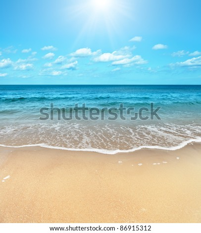 Perfect sandy beach in hot summer day - stock photo