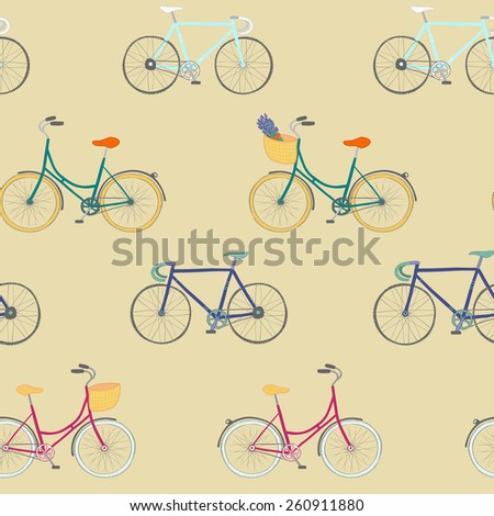 Perfect seamless pattern with colorful hand drawn city bikes and racing bikes. - stock photo
