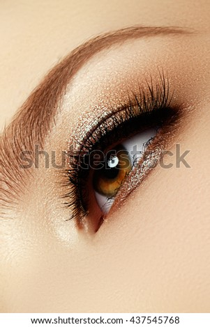 Perfect shape of eyebrows, brown eyeshadows and long eyelashes. Cosmetics and make-up. Modern fashion make up. Classic  brown smoky eye makeup - stock photo