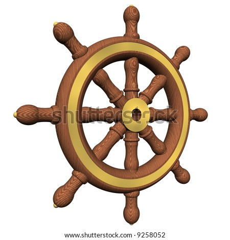Perfect ship's wheel isolated on white - stock photo