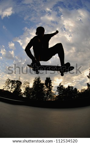 perfect silhouette of a skateboarder doing a trick at the skate park.