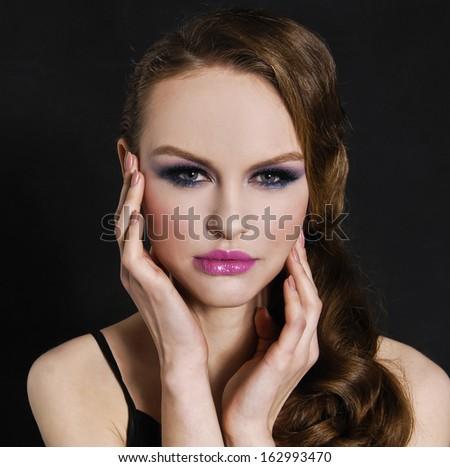 Perfect Skin girl, glamour - stock photo