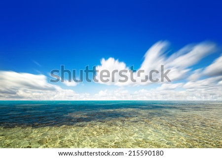 perfect summer sky and water of ocean - stock photo